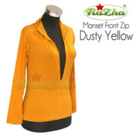 manset front zip dusty yellow busui razha tunic dalaman kaos polos 081326212750